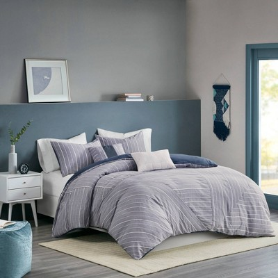 Bryce Full/Queen 5pc Cotton Rich Chambray Duvet Cover Set Indigo