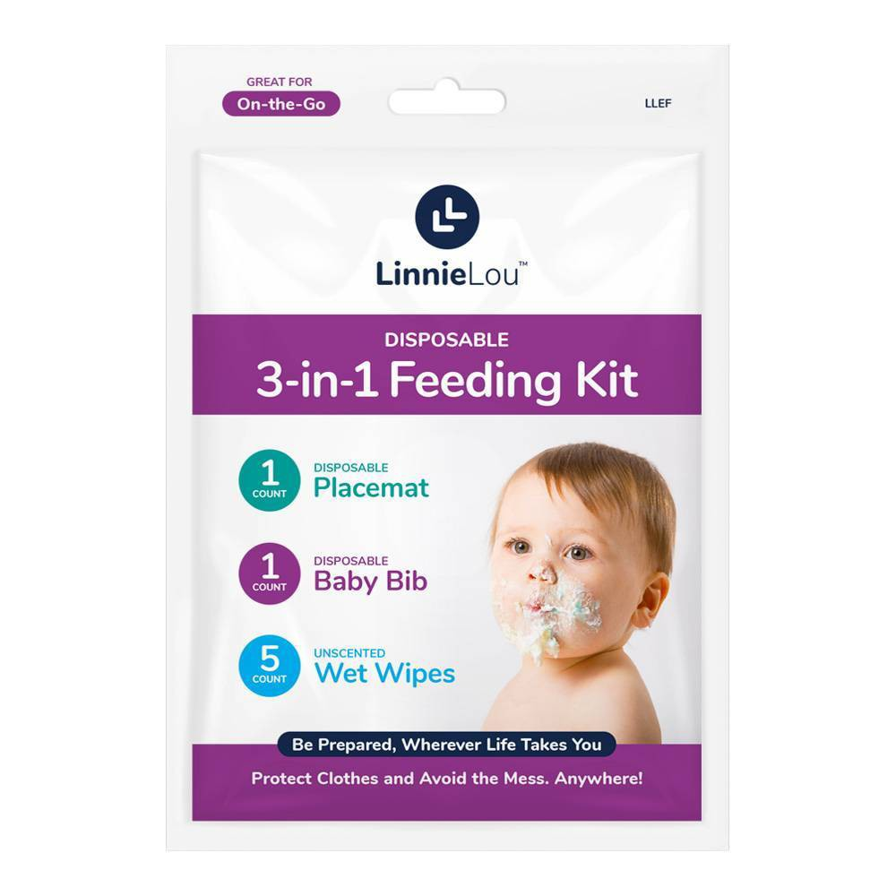 Image of LinnieLou Disposable 3-in-1 Feeding Kit, White