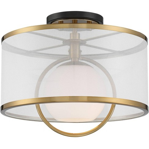 Possini Euro Design Modern Art Deco Ceiling Light Semi Flush Mount Fixture Brass Black 14 Wide Orb Organza Drum Shade For Bedroom Target