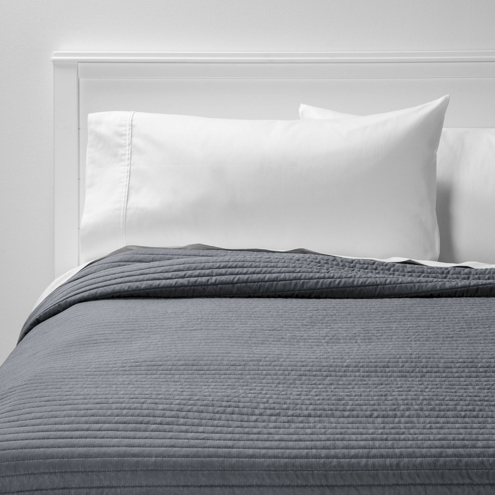 King Garment Washed Microfiber Quilt Charcoal - Room Essentials