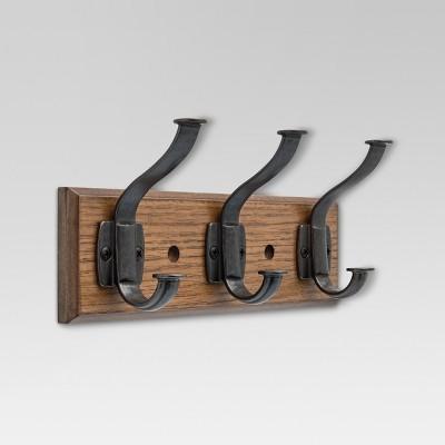 Industrial Hook Rack Walnut & Soft iron - Threshold™