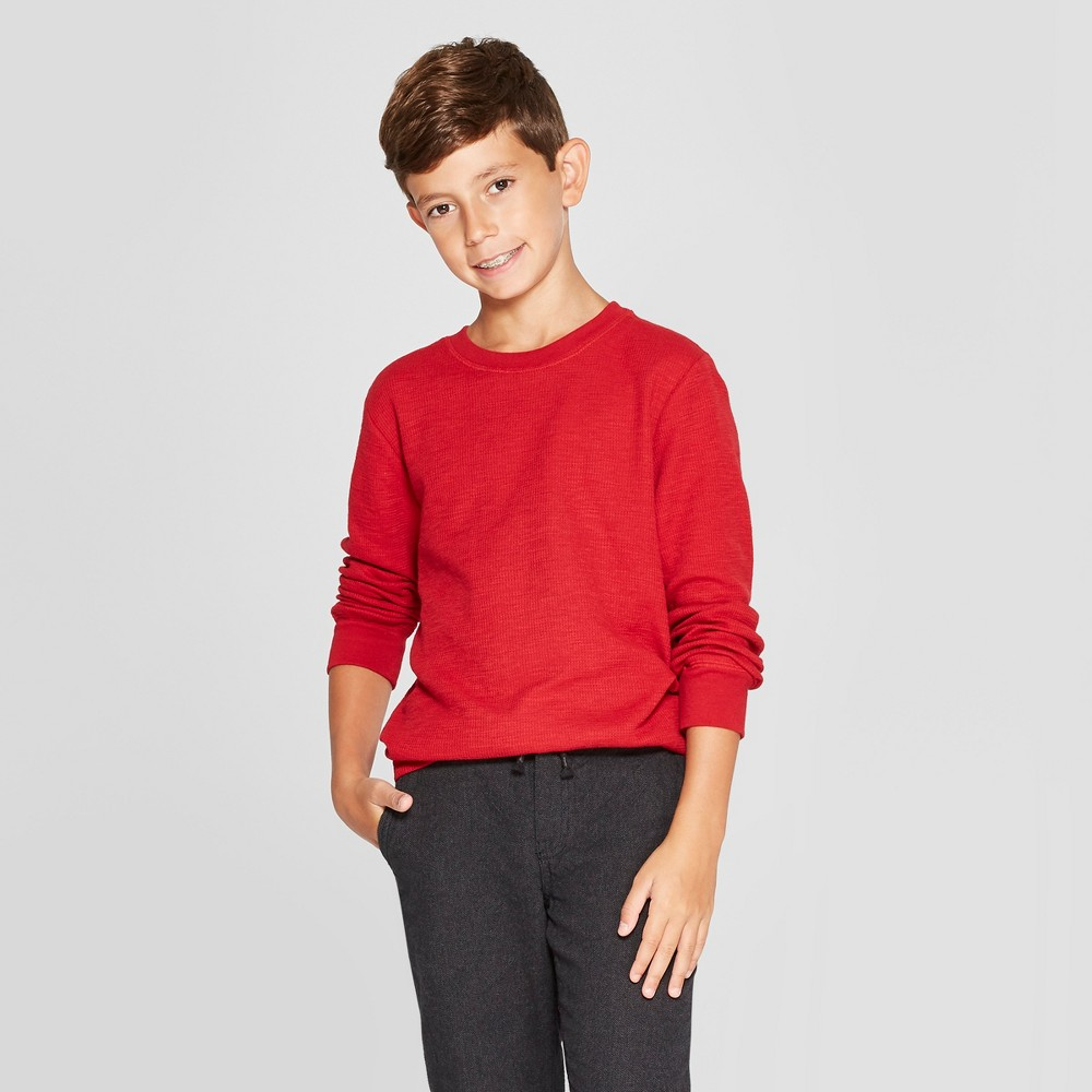 Boys' Thermal Long Sleeve T-Shirt - Cat & Jack Red M