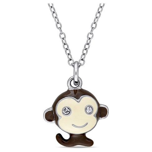 "Children's Enameled Monkey Pendant Necklace with .04 CT. T.W. Created Crystal in Sterling Silver - (14"") - image 1 of 2"