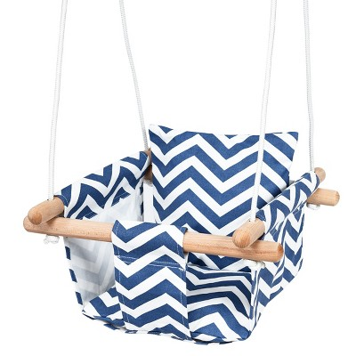Costway Baby Canvas Hanging Swing Cotton Hammock Toy for Toddler BluePink