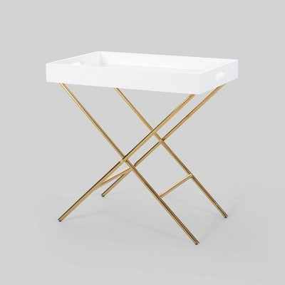 Edelweiss Modern Glam Tray Top Side Table Gold - Christopher Knight Home