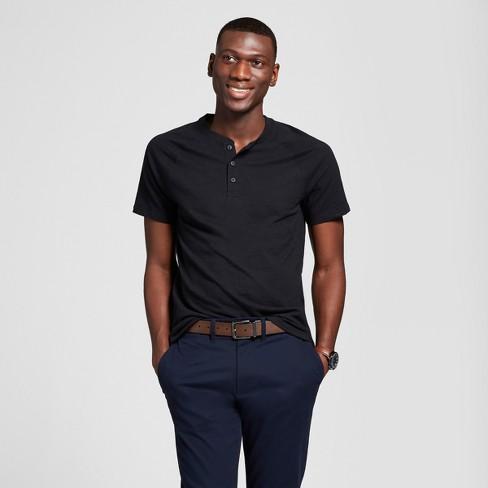 Men's Standard Fit Short Sleeve Henley Shirt - Goodfellow & Co™ Midnight Black XXL - image 1 of 3