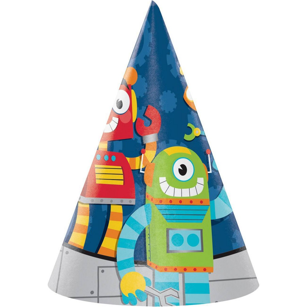 Image of 24ct Robot Party Hats, wearable party accessories