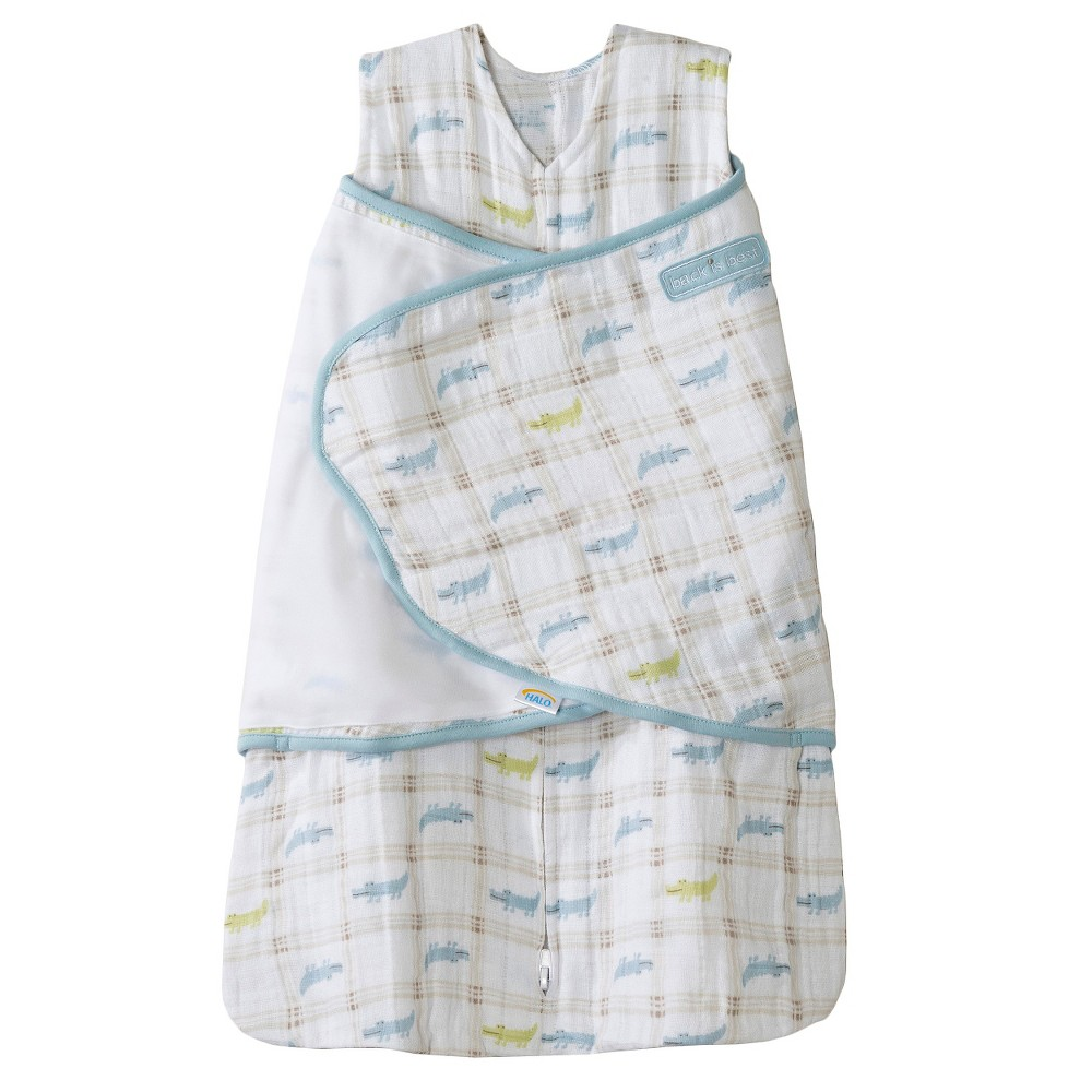 Halo Sleepsack 100% Cotton Muslin Swaddle - Blue Alligator Plaid - NB