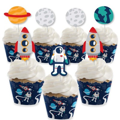 Big Dot of Happiness Blast Off to Outer Space - Cupcake Decoration - Baby Shower or Birthday Party Cupcake Wrappers and Treat Picks Kit - Set of 24