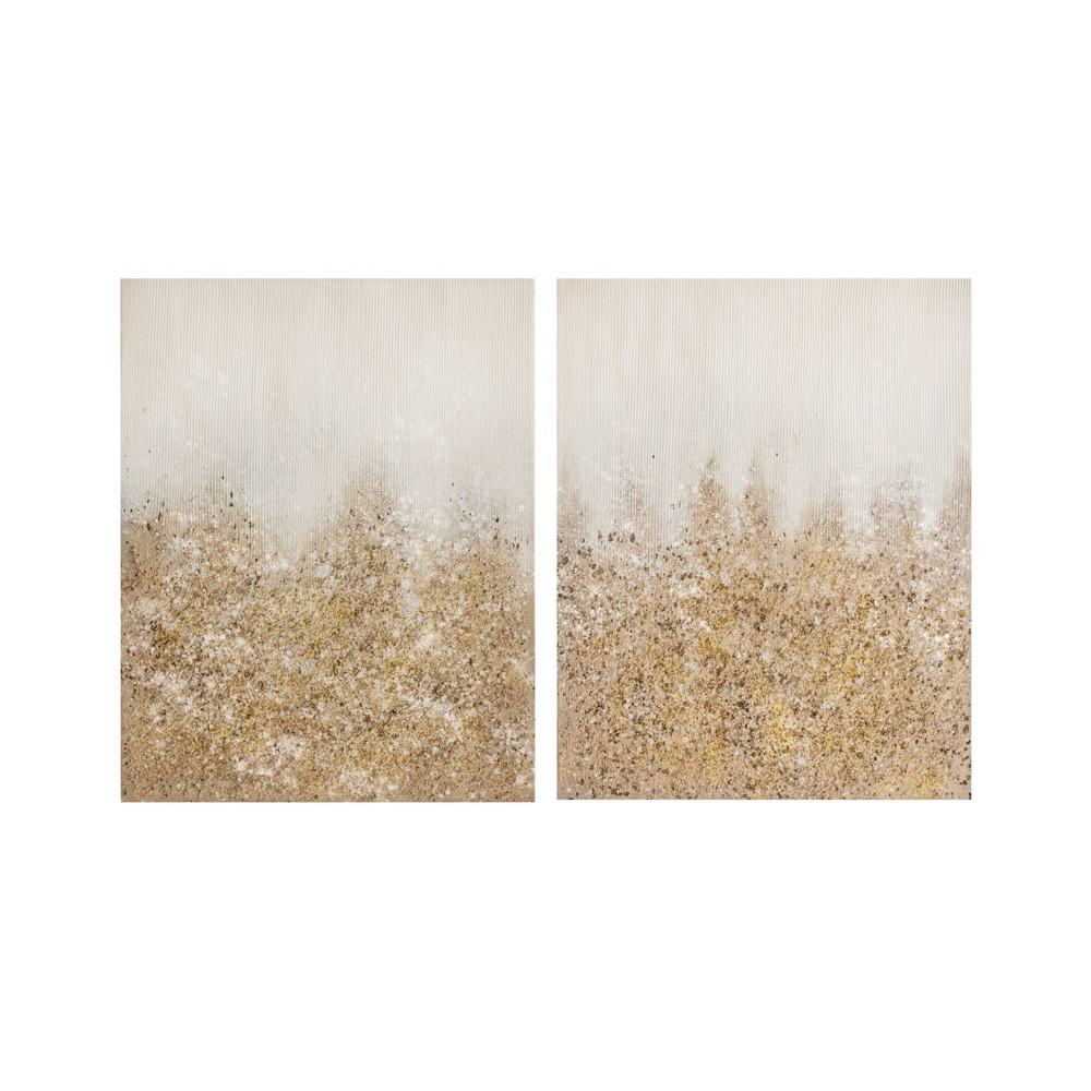 Image of 2pc Hand Brush Embellished Canvas Gold