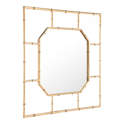 """ZM Home 36"""" Modern Square Mirror Gold - image 1 of 4"""