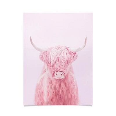 "18""X24"" Paul Fuentes Highland Cow Unframed Wall Poster Print Pink   Deny Designs by Deny Designs"