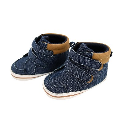 Baby Boys' Rising Star Denim High Top with Easy Closure Straps - Blue 3-6M