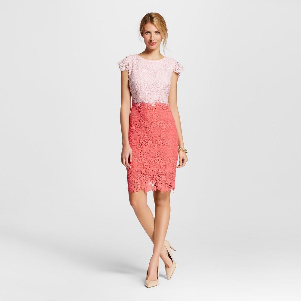 Women's Colorblock Lace Sheath Dress Pink/Coral 6 - Julia, Pink Coral