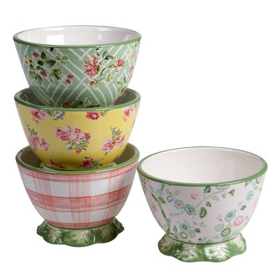 22oz 4pk Earthenware English Garden Pedestal Ice Cream Bowls - Certified International