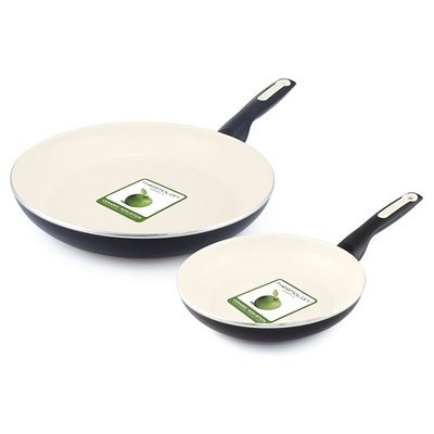 "GreenPan Rio 8"" and 11"" Ceramic Non-Stick Breakfast Set Black"
