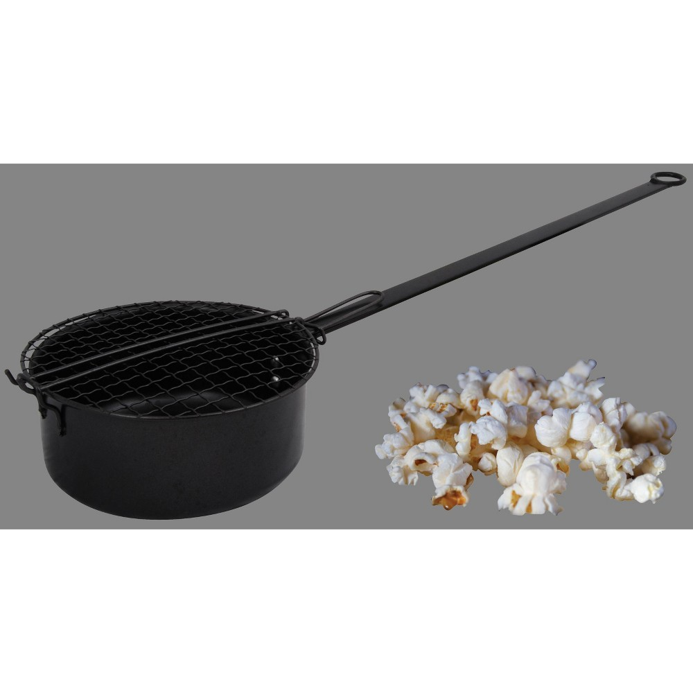 Fireplace Popcorn Popper Black - Esschert Design Treat your senses to the buttery smell and sweet sounds of crunchy popcorn when you empty those golden kernels in your outdoor fireplace with this Fireplace Popcorn Popper from Esschert Design. With a sturdy cast-iron construction, a long handle and metal wire frame lid design, this black cast iron popcorn pan quickly pops popcorn over an open fire and makes outdoor food preparation a breeze. Perfect for adding to your family-filled fun, this popcorn popper works well for fireplace cooking when tailgating or camping outdoors.