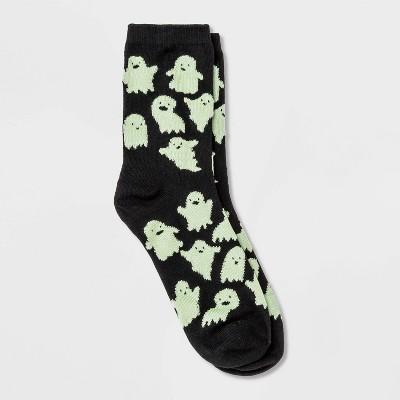 Women's Glow in the Dark Ghost Halloween Crew Socks - Hyde & EEK! Boutique™ Black 4-10