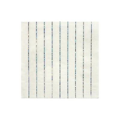 Meri Meri Silver Sparkle Stripe Large Napkins