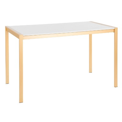 Fuji Modern/Glam Dining Table Gold/White Marble - LumiSource