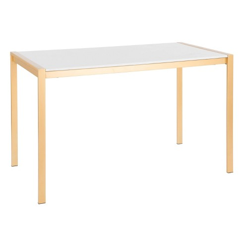 Fuji Modern/Glam Dining Table Gold/White Marble - LumiSource - image 1 of 4