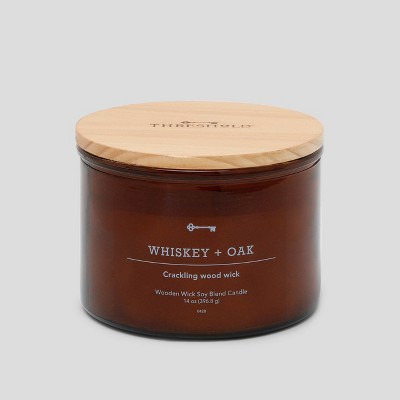14oz Lidded Glass Jar Crackling Wooden 3-Wick Candle Whiskey & Oak - Threshold™