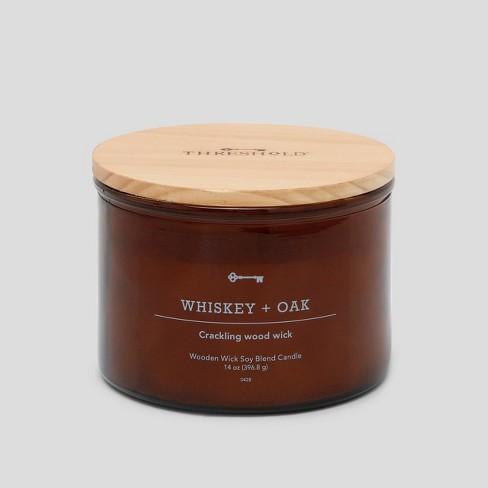 Lidded Glass Jar Crackling Wooden Wick Candle Whiskey & Oak - Threshold™ - image 1 of 3