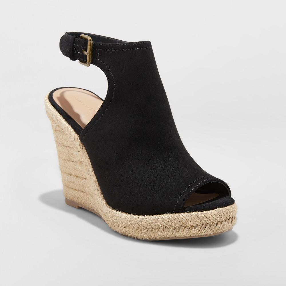 Women's Mala Shield Espadrille Wedge Sandals - Universal Thread Black 6