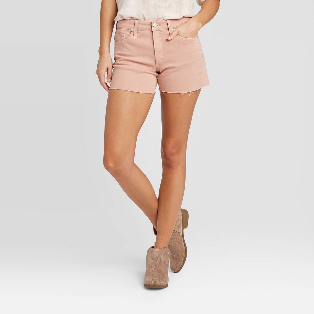 Bring some fresh, feminine flair to your collection of denim with the High-Rise Jean Shorts from Universal Thread?. A light pink color gives these high-rise denim shorts a delightfully charming look with a blush of retro-inspired style. The high-waisted silhouette creates a figure-flattering fit you\\\'ll feel confident in, while a lightweight, breathable fabric keeps you comfy from day to night. Fashioned with raw hems for a touch of edge, you can keep things on the casual side when you pair these pink jean shorts with a denim jacket, graphic tee and pair of platform sneaks, or heighten the girly aesthetic with a floral blouse and strappy sandals. Size: 16. Color: rose. Gender: female. Age Group: adult. Pattern: Solid. Material: Cotton.