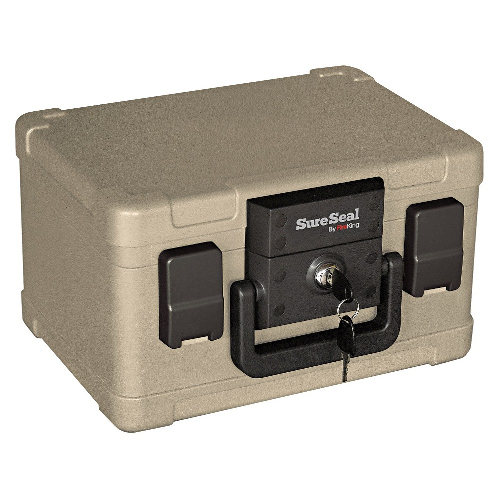 SureSeal By FireKing Fire and Waterproof Chest, 0.15 ft3, 12-1/5w x 9-4/5d x 7-3/10h, Taupe (Brown)