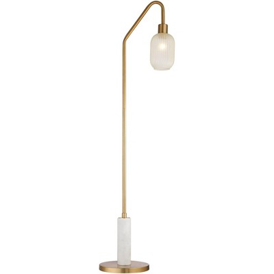 Possini Euro Design Modern Floor Lamp LED Warm Antique Brass Frosted Champagne Ribbed Glass Shade Decor Living Room Reading House