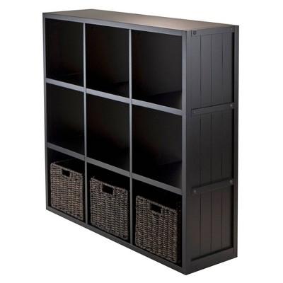"""40.08"""" 4pc Timothy Set Storage Shelf 3X3 with Baskets Black - Winsome"""
