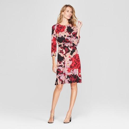 978de1b065c5 Women's Floral Print Lace Detail Knit Swing Dress - Spenser Jeremy - Black