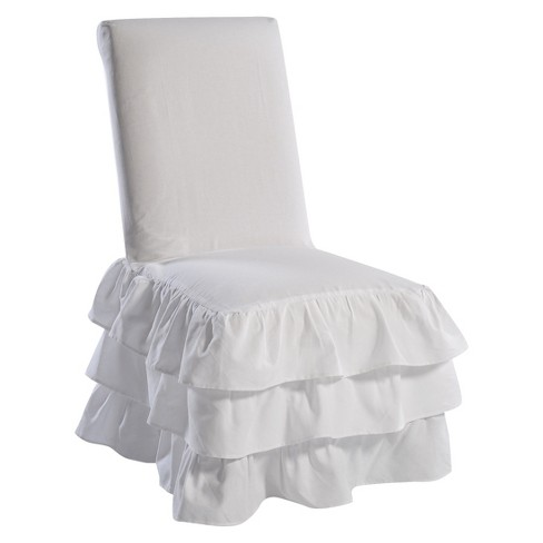 Groovy White Ruffle 3 Tiered Dining Chair Slipcover Pdpeps Interior Chair Design Pdpepsorg