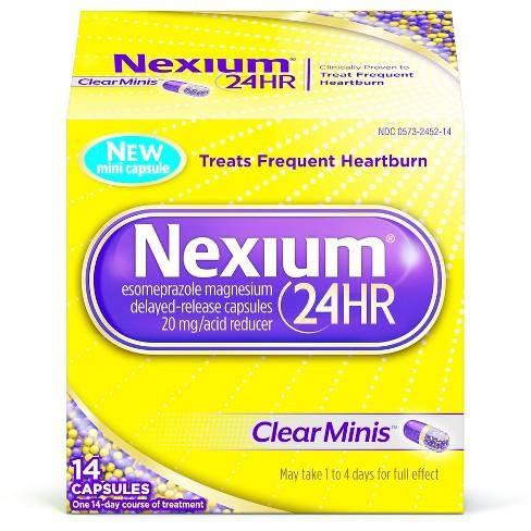 Nexium 24HR ClearMinis Delayed Release Heartburn Relief Capsules, Esomeprazole Magnesium Acid Reducer - 14ct - image 1 of 6