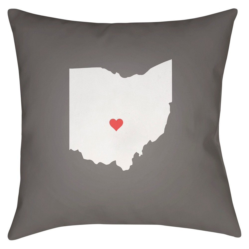 Gray State of the Heart Ohio Throw Pillow 20