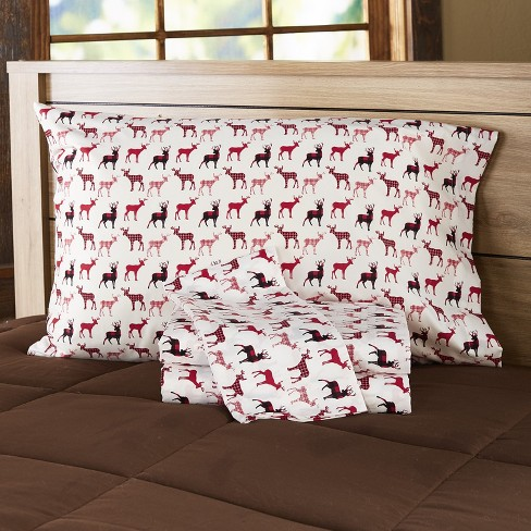 Lakeside Cozy Cabin Buffalo Plaid Patchwork Deer King Bed Sheets Set 4 Pieces Target