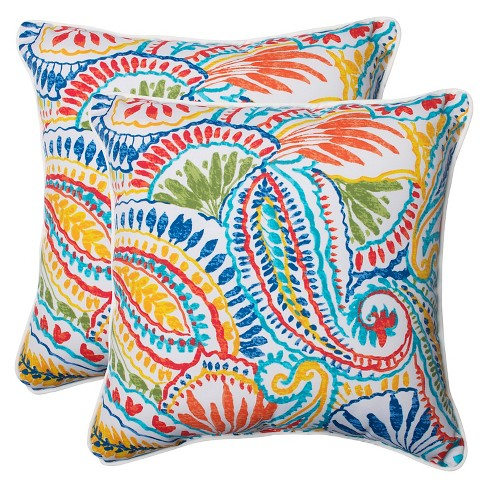 Pillow Perfect Ummi Outdoor 2-Piece Square Throw Pillow Set - Multicolored - image 1 of 3