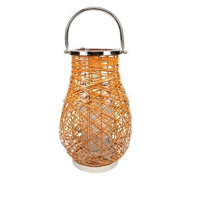 "Northlight 13.5"" Modern Orange Decorative Woven Iron Pillar Candle Lantern with Glass Hurricane"