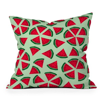 """16""""x16"""" Susanne Kasielke Melon Choly Fruit Salad Square Throw Pillow Red/Green - Deny Designs"""