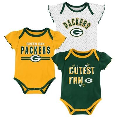 NFL Green Bay Packers Baby Girls' Bodysuit Set 3pk - 6-9M