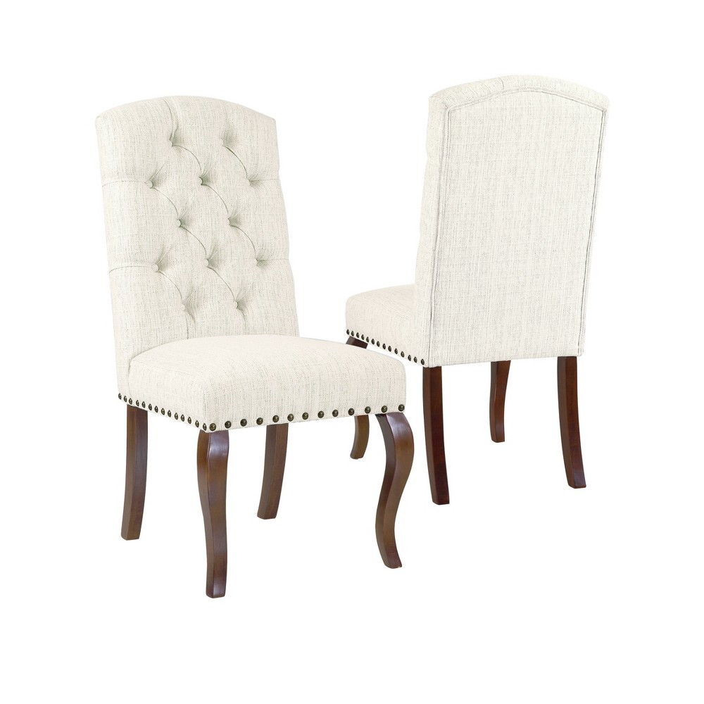 Set of 2 Tufted Back Stain Resistant Textured Dining Chair Natural - HomePop was $309.99 now $232.49 (25.0% off)