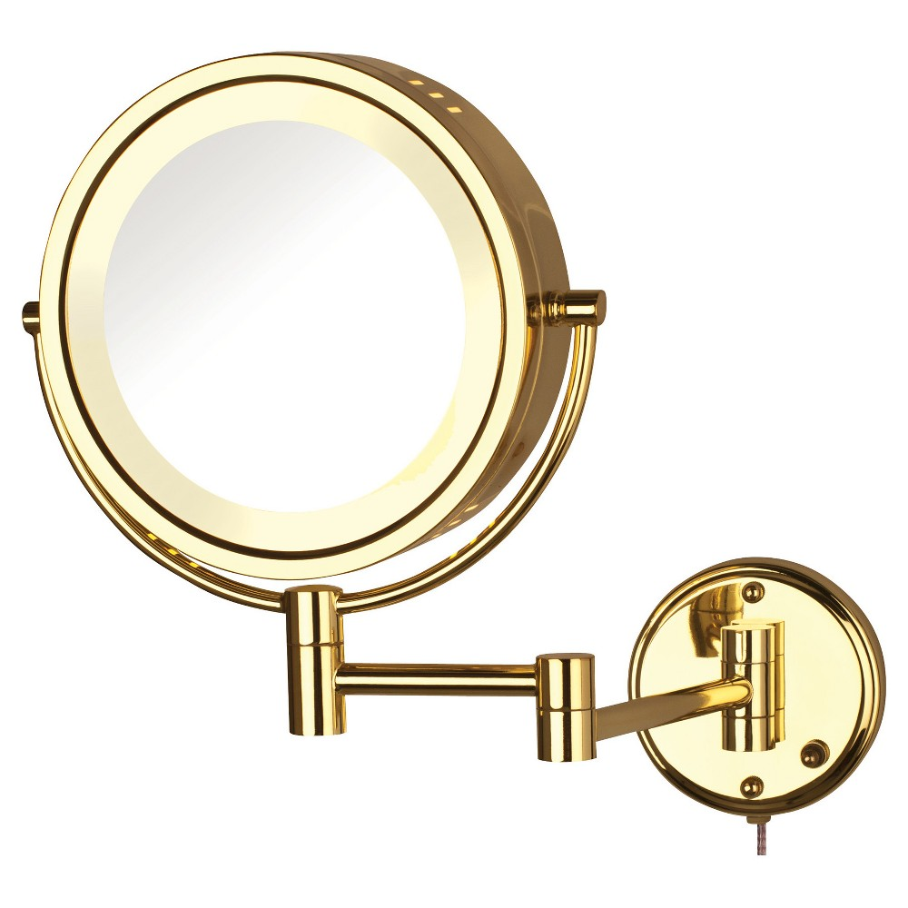 Jerdon 8X-1X Halo Lighted Wall Mount Mirror Extends 13.5 Bright Brass