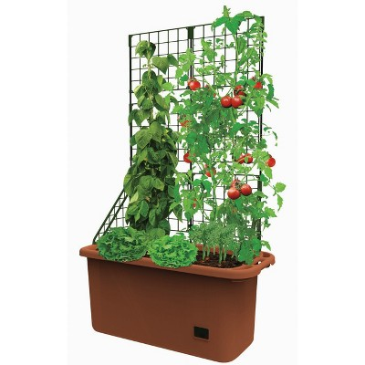 Lakeside Self Watering Vegetable Planter Box With Trellis On Wheels Mobile Garden Target