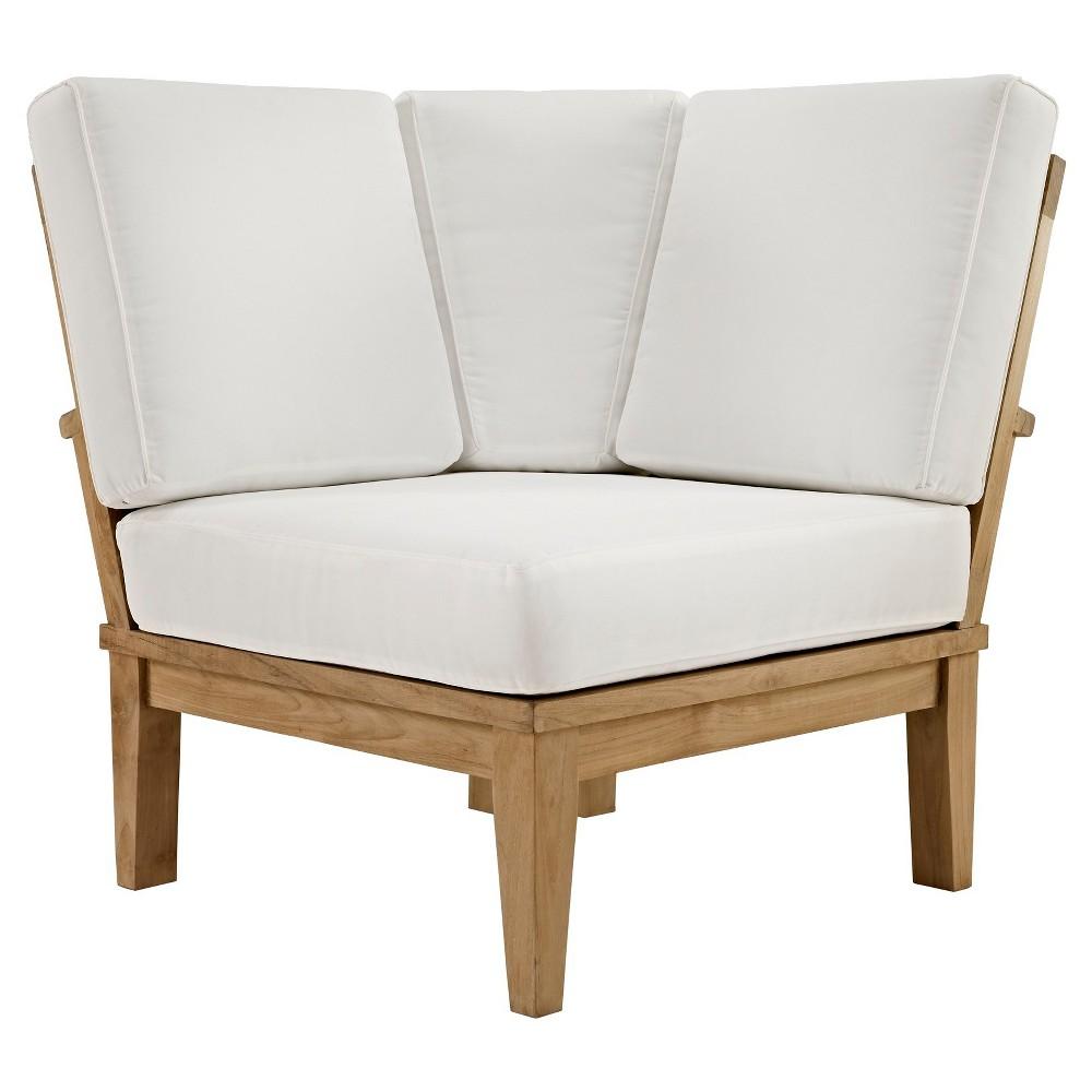 Marina Outdoor Patio Teak Corner Sofa in Natural White - Modway