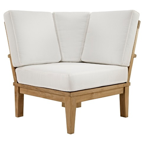 Marina Outdoor Patio Teak Corner Sofa In Natural White Modway Target