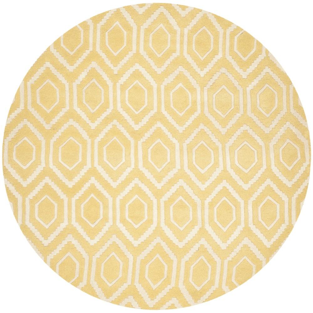 7' Geometric Tufted Round Area Rug Light Gold/Ivory - Safavieh