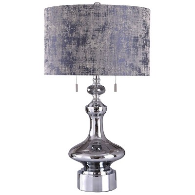 Zilar Mirror Glass Table Lamp with Faceted Crystal Drum Shade Chrome - StyleCraft