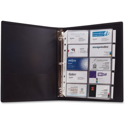 """Anglers 3-Ring Business Card Binder 100 Card Cap 8-1/2""""x11"""" Black 303"""