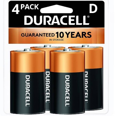 Duracell Coppertop D Batteries - 4 Pack Alkaline Battery